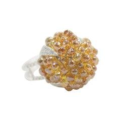 PANIM 13.51 Carat Diamond Cluster Ring in Natural Fancy Color Briolette in 18k