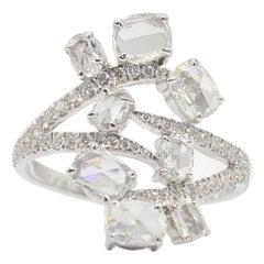 Panim 1.39 Carat Oval Floral Ring with Diamond Rose Cut in 18 Karat White Gold