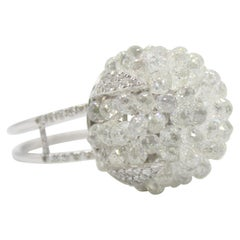 PANIM 15.85 Carat White Briolette Diamond Bouquet Cluster Ring in White Gold