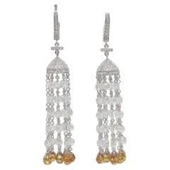 PANIM 17.57 Carat Rose Cut Diamond Tassel Chandelier Earrings in White Gold