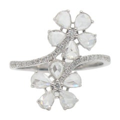 Panim 18 Karat White Gold Diamond Rosecut Floral Ring