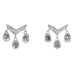Panim 1.95 Carat Diamond Briolettes 18 Karat White Gold Earrings