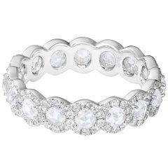 Panim 2 Carat White Round Rose Cut Diamond Eternity Band Ring in 18K White Gold