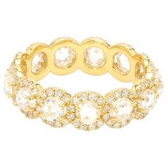 Panim 2 Carat White Round Rose Cut Diamond Eternity Band Ring in 18 Karat Gold