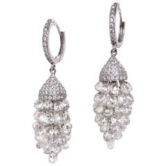 Panim 20 Carat Briolette Diamond Chandelier Grape Earrings in 18 Karat Gold