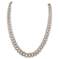 PANIM 20 Carat Pave Diamond Cuban Link Necklace in 18 Karat White Gold
