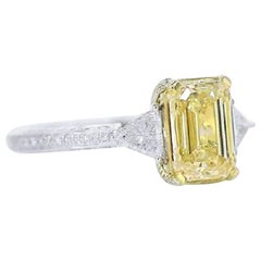 PANIM 2.01 Carat GIA Certified Emerald Yellow Diamond Cocktail Ring