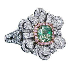 Panim 2.13 Carat GIA Certified Yellowish Green 18 Karat White Gold Cocktail Ring