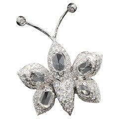 PANIM White Rosecut Diamond Butterfly Cocktail Ring in 18 Karat White Gold