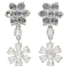 Panim 2.87 Carat Diamond Rosecut 18 Karat White Gold Floral Earrings