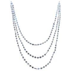 Panim 3 Layer Rosecut Diamond Chain Necklace in 18 Karat White Gold