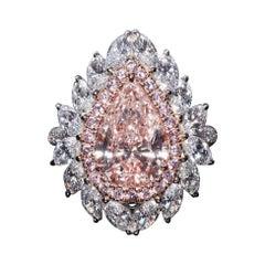 Panim 3.01 GIA Light Brown Pink Diamond Ring in 18 Karat White Gold