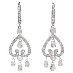 Panim 3.51 Carat Diamond Briolette and Roundell 18 Karat White Gold Earrings