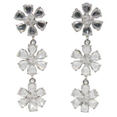PANIM 4.67 Carat Diamond Rosecut and Briolette 18k White Gold Floral Earrings