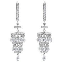 PANIM 7.05 Carat Diamond Briolette Chandelier Earrings in 18 Karat White Gold