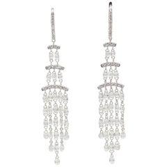 PANIM 7.08 Carat Diamond Briolette 18 Karat White Gold Dangling Earrings