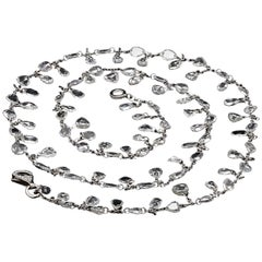 Panim 7.59 Carat Floral Rosecut Mix Shape Necklace in White Gold Necklace