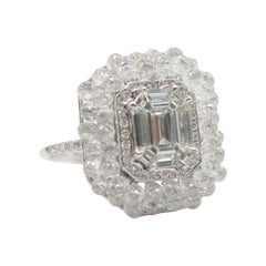 Panim 7.97cts White Briolette and Illusion Cut Diamond Cocktail Ring in 18k Gold