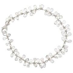 Panim 8 Carat Pear Rose Cut Diamond Dangling Bracelet in 18 Karat White Gold