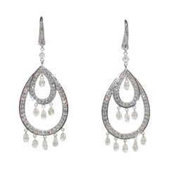 PANIM 8.32 Carat Diamond Briolette Drop Earrings in 18 Karat White Gold