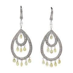 PANIM 9.49 Carat Yellow Color Diamond Briolette White Gold Earrings 18K Gold