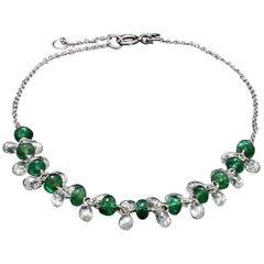 PANIM Briolette Cut Diamond and Emerald Dangling Bracelet in 18 Karat White Gold