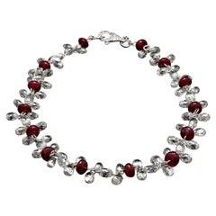 Panim Briolette Cut Diamond and Ruby Dangling Bracelet in 18 Karat White Gold