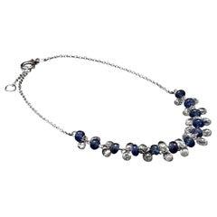 Panim Briolette Cut Diamond and Sapphire Dangling Bracelet in 18 White Gold