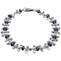 PANIM Briolette Cut Diamond and Sapphire Dangling Bracelet in 18 Karat Gold