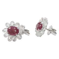 Panim Briolette Diamonds and Ruby Studs 18 Karat White Gold