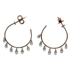 Panim 2.84 Carats Diamond Briolette 18 Karat Rose Gold Hoops Earrings