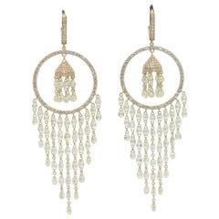 Panim 22.41cts Diamond Briolette 18 Karat Yellow Gold Earrings
