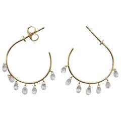 PANIM 2.84 Carats Diamond Briolette 18 Karat Yellow Gold Hoop Earrings