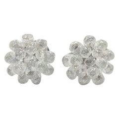 Panim Diamond Briolette Studs 18 Karat White Gold