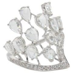 PANIM 1.87 Carat Rose Cut Diamond Crown Ring set  18 Karat White Gold.