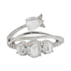 PANIM 1ct Multi Shape Rosecut Diamond Cocktail Ring in 18K White Gold