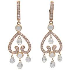 PANIM Diamond Valentines Earrings 3.80 Carat Rose Cut Diamonds in Rose Gold