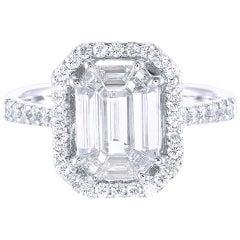 PANIM Emerald Illusion Diamond Engagement Ring in 18K White Gold