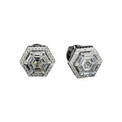 PANIM Hexagon Illusion Diamond Earrings in 18 Karat White Gold