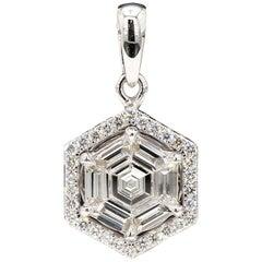 PANIM Hexagon Illusion Diamond Pendant in 18 Karat White Gold