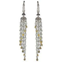 Panim Maharani Diamond Briolette 18 Karat White Gold Earrings