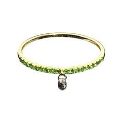PANIM Mono Briolette Diamond Ring in Emerald Band in 18 Karat Yellow Gold