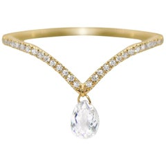 Panim Mono Diamond Briolette Dangling Ring 18 Karat Gold