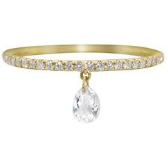 PANIM Mono Diamond Briolette Dangling Ring 18 Karat Gold