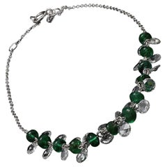 PANIM Rose Cut Diamond and Emerald Dangling Bracelet in 18 Karat White Gold