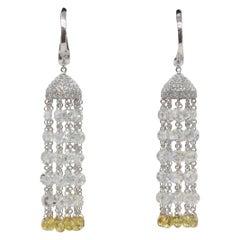 Panim Rose Cut Diamond and Fancy Color Briolette Tassel Earrings 18 Karat Gold
