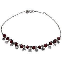 Panim Rose Cut Diamond and Ruby Dangling Bracelet in 18 Karat White Gold