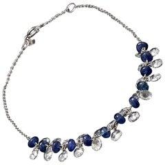 Panim Rose Cut Diamond and Sapphire Dangling Bracelet in 18 Karat White Gold