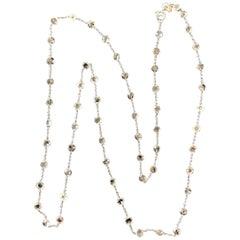 Panim Rosecut Diamond Circles Station Necklace in 18 Karat White Gold