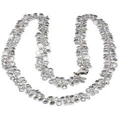 Panim Rosecut Diamond Flower Chain Necklace in 18 Karat White Gold
